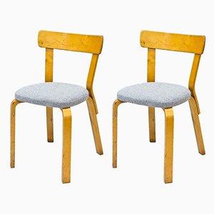 Modell 69 Beistellstühle von Alvar Aalto für Artek, 1940er, 2er Set