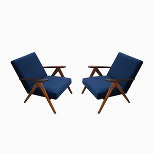 Navy Blue Velvet Model B 310 Easy Chairs from Zakłady Mebli Giętych Radomsko, 1960s, Set of 2