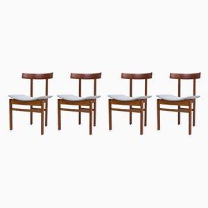 Esszimmerstühle mit Gestell aus Teak & Wollbezug von Inger Klingenberg für France & Søn / France & Daverkosen, 1960er, 4er Set
