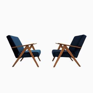 Blue Velvet Model B 310 Easy Chairs from Zakłady Mebli Giętych Radomsko, 1960s, Set of 2