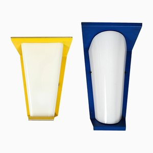 Metal and Plexiglas Sconces, 1950s, Set of 2