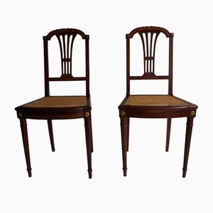 Antique French Louis XVI Mahogany and Gold Bronze Side Chairs, Set of 2