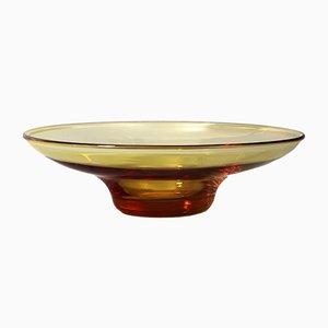 Bernsteinfarbene Glasschale in Lotusblumen-Optik von Barnaby Powell für Whitefriars, 1930er