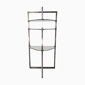 Stainless Steel and Glass Bookcase by Peter Ghyczy, 1980s