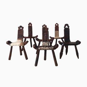 Spanischer Beistellstuhl im brutalistischen Stil, 1960er, 6er Set