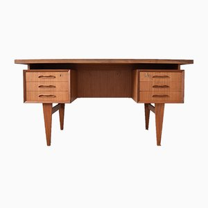 Mid-Century Danish Teak Floating Desk, 1960s