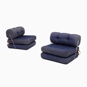 Model Tajt Blue Lounge Chairs by Lundgren Gillis for Ikea, 1970s, Set of 2