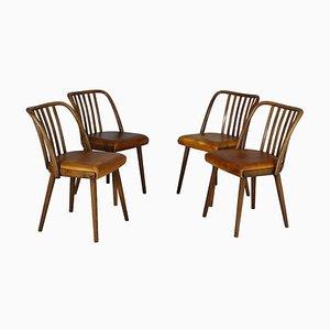 Chaises de Salle à Manger en Cuir de TON, années 60, Set de 4