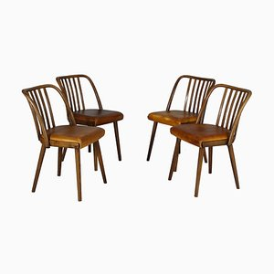 Leather Dining Chairs from TON, 1960s, Set of 4