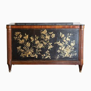 18th Century Italian Oak and Black Marble Credenza
