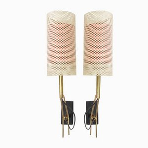 Perforated Metal Sconces by Jean Boris Lacroix, 1960s, Set of 2