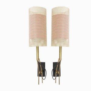 Wandleuchten mit Lampenschirmen aus perforiertem Metall von Jean Boris Lacroix, 1960er, 2er Set