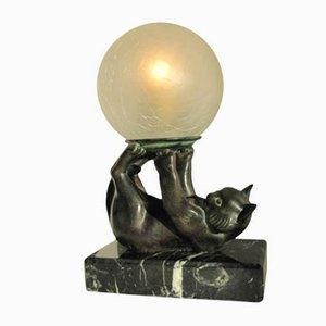 Lámpara de mesa Jongleur en forma gato jugando con una bola de Janle para Max Le Verrier
