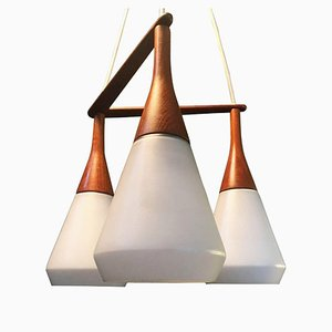 Danish Triple Drop Ceiling Lamp from Holmegaard, 1960s