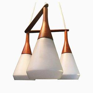 Danish Triple Drop Ceiling Lamp from Holmegaard, 1960s