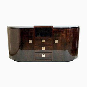 Art Deco French Lacquered Rosewood Sideboard, 1930s
