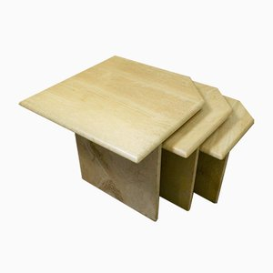Italian Travertine Nesting Tables, 1970s, Set of 3