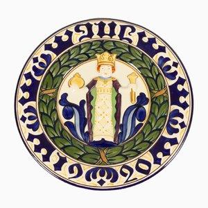 Antiker dekorativer dänischer Teller von Royal Copenhagen, 1920