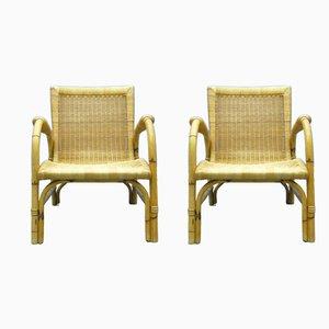 Butacas de ratán y bambú de Arco, años 40. Juego de 2