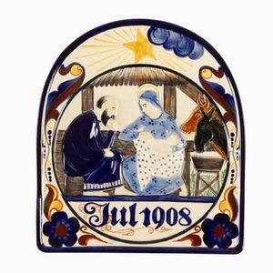 Assiette Décorative Ancienne de Royal Copenhagen, Danemark, 1908