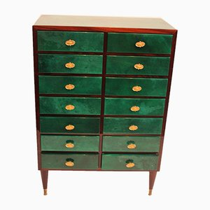 Green Leather Dresser by Aldo Tura, 1960s