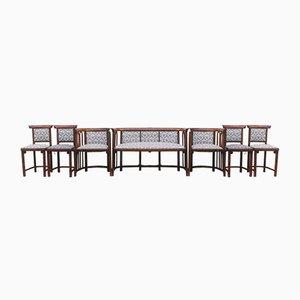 Poltrona antica e divano di Josef Hoffmann, set di 7
