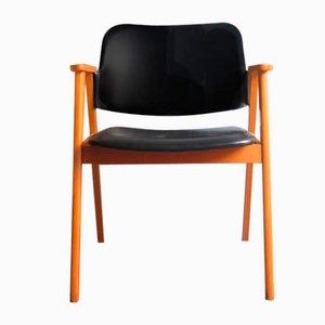 Armlehnstuhl mit schwarzem Sitz, 1950er