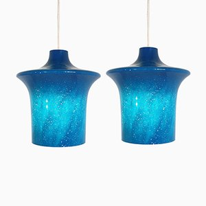 Model B1204 Glass Pendant Lamps from Raak, 1967, Set of 2