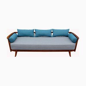 Tagesbett mit Gestell aus Nussholz & grauem Bezug, 1950er