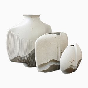 French Porcelain Vases by Yves Mohy for Virebent, 1970s, Set of 3