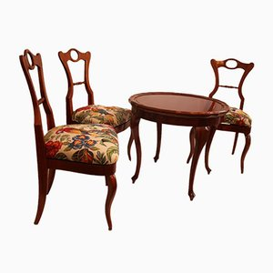 Antique Biedermeier Cherry Wood Coffee Table and Side Chairs, Set of 4
