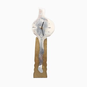 Brutalist Style Aluminum and Brass Clock by David Marshall, 1980s
