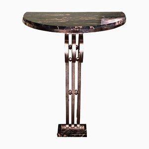 Table Console en Fer Forgé et Marbre, années 30
