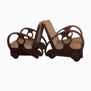 Mid-Century Dutch Teak and Rattan Armchairs, Set of 2