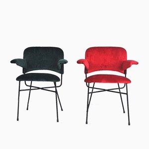 Roter & grüner Armlehnstuhl, 1950er, 2er Set