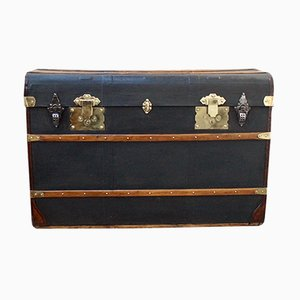 Antique Victorian Oiled Canvas Steamer Trunk