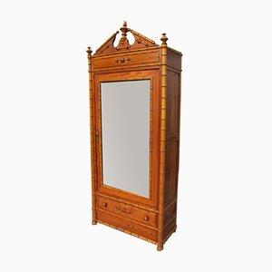 Antiker Kleiderschrank aus Bambus mit Spiegel