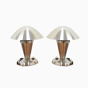 Lampes de Bureau Bauhaus en Chrome, années 30, Set de 2