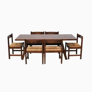 Tavolo da pranzo Torbecchia e sedie di Giovanni Michelucci per Poltronova, anni '60, set di 7