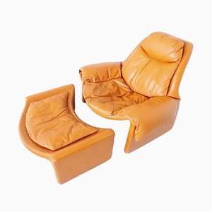 P60 Leather Lounge Chair and Ottoman Set by Vittorio Introini for Saporiti Italia, 1960s