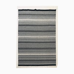 Hand-Knotted Cotton and Wool Black and White Kilim Rug, 1970s
