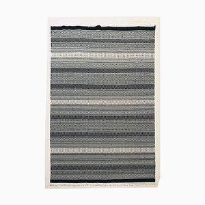 Handgeknüpfter schwarz-weißer Kelim Teppich aus Baumwolle, 1970er