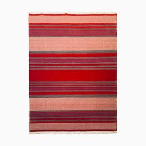 Kelim Teppich aus Wolle und Baumwolle in Rot & Beige, 1972