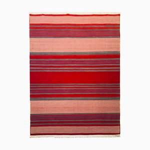Wool and Cotton Red and Beige Kilim Rug, 1972