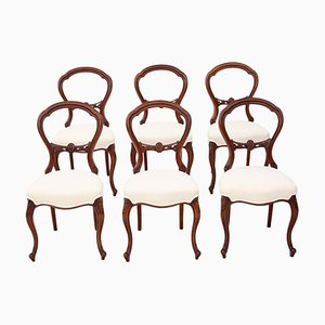Antique Victorian Walnut Dining Chairs, 1870s, Set of 6