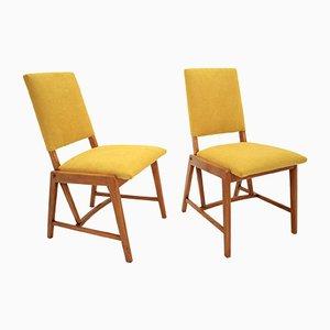 Deutsche Beistellstühle mit gelbem Bezug von GHG Mobel Pirna, 1970er, 2er Set