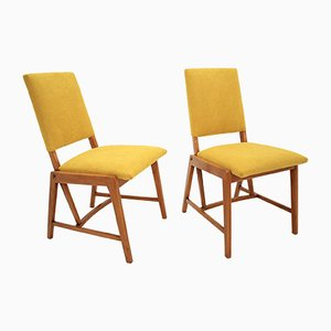 German Yellow Side Chairs from GHG Mobel Pirna, 1970s, Set of 2