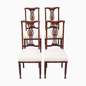 Antike viktorianische Esszimmerstühle aus Mahagoni mit Intarsien, 4er Set