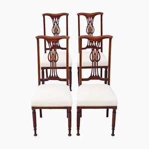 Antique Victorian Inlaid Mahogany Dining Chairs, Set of 4