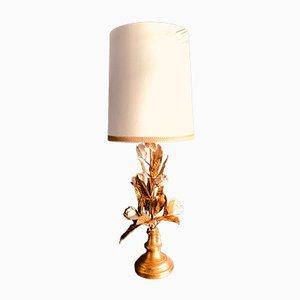 Lampada da tavolo grande smaltata bianca in metallo dorato, Italia, anni '60